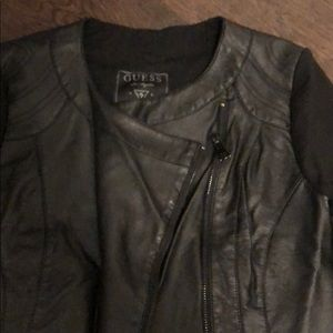 Guess Jackets & Coats - Black mixed media jacket with pleather front